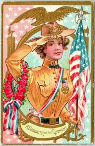 1909 DECORATION DAY Postcard A Daughter of the Regiment Girl in G.A.R. Uniform