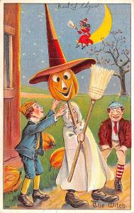 Halloween Post Card Old Vintage Antique, Witch Halloween Series Number 980 1910