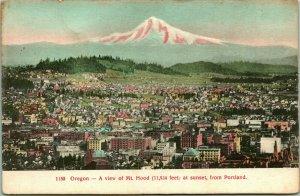 Vtg Carte Postale 1910s Portland Oregon Ou Mount Hood À Crépuscule De Inutilisé