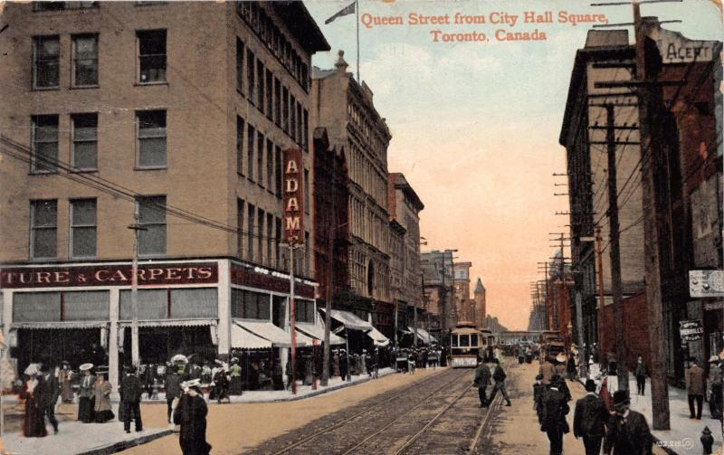 TORONTO ONTARIO CANADA QUEEN STREET FROM CITY HALL SQUARE POSTCARD 1909