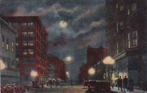 Illinois Rockford Main Street At Night 1912