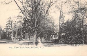 Red Bank New Jersey~Upper Broad Street Homes~Church Steeple~Horse Buggy~1905 B&W
