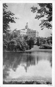 Battle Creek Michigan~General Hospital from Irving Park~View Across Lake~1950s