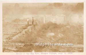 Old Vintage Shaker Post Card Ruins of the Big Fire,  Village August 4, 1908 r...