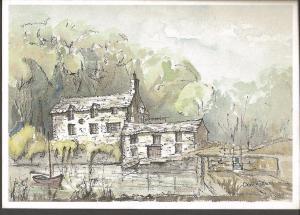 Postcard Art Painting Print CORNISH CREEKSIDE COTTAGES by Derek Watson SC17