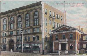 PAWTUCKET Rhode Island - CITY HALL & Masonic Building 1910s