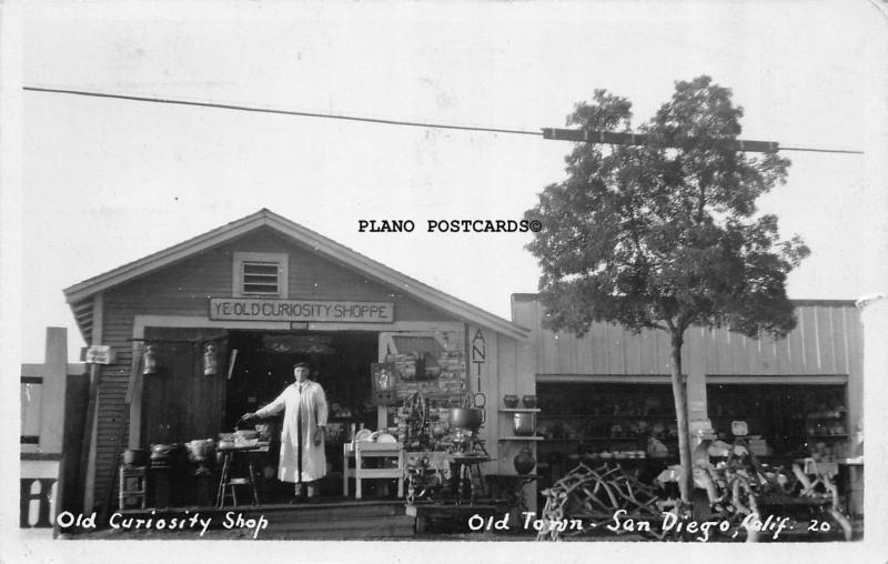 SAN DIEGO, CALIFORNIA, OLD CURIOSITY SHOP-1931 RPPC REAL PHOTO POSTCARD