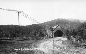 ERROL NH~CLEAR STREAM COVERED BRIDGE-DIRECTION SIGNS-REAL PHOTO POSTCARD