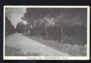 GREETINGS FROM GREENSBURG KANSAS ANTIQUE VINTAGE POSTCARD