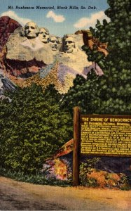 South Dakota Black Hills Mount Rushmore Memorial 1953 Curteich