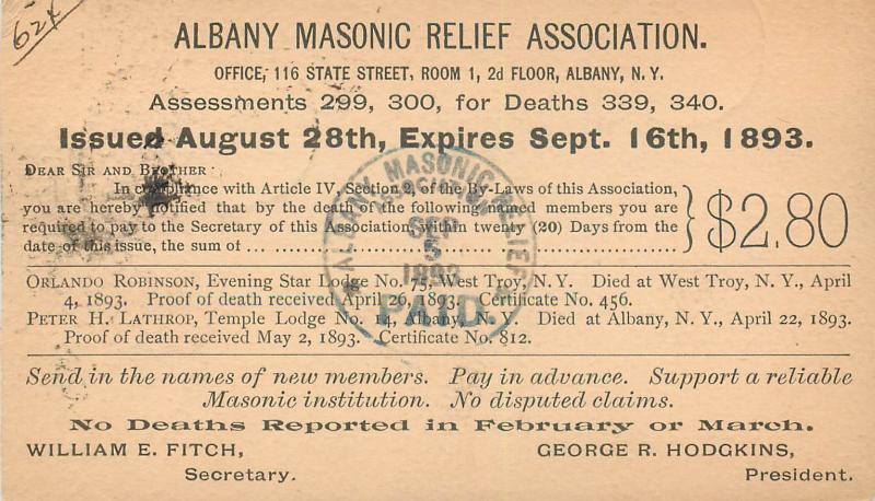 Advertising 1893 Albany New York Masonic Relief Association Deaths Pioneer