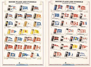 House Flags & Funnels Trawlers TWO Ship Flag Postcard s
