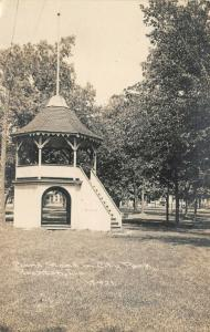 Rockton IL~See House in Tunnel Under Raised Bandstand~Park~RPPC c1910 CR Childs