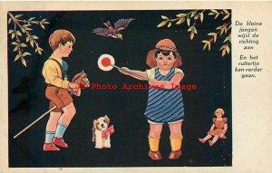 Advertising Postcard, Signed PL, J Bijloos Hoofd Eau de Cologne, Children