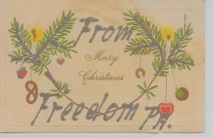 Freedom Pennsylvania Merry Christmas From glittered antique pc Z16559