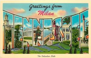 Milan Tennessee~Large Letter CHROME Greetings~Volunteer State~1963 Postcard
