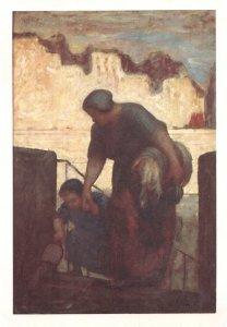 Daumier The Lawndress La Blanchisseuse French Vintage Painting Postcard