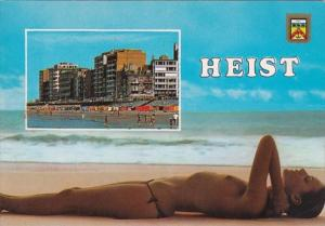 Risque Semi Nude Topless Girl On Beach Heist Belgium