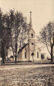Sanborn Iowa~German Lutheran Church~Houses~Dirt Road~c1912 Real Photo~RPPC
