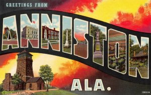 Large Letter USA Vintage Postcard 1941 Greetings from Anniston Alabama 58Y