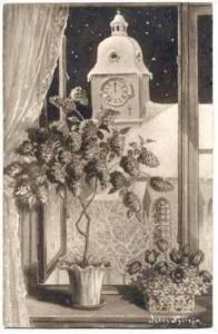 Jenny Nystrom,Snow-Capped Church Through Window,00-10s