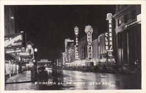 Nevada Reno North Virginia Street At Night Real Photo