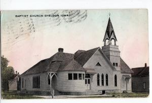 1910 SHELDON Iowa Ia Postcard BAPTIST CHURCH