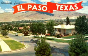 El Paso, Texas - Greetings from the City - Mount Franklin - in the 1950s