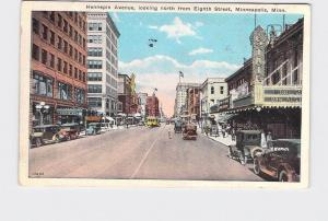 ANTIQUE POSTCARD MINNESOTA MINNEAPOLIS HENNEPIN AVE LOOKING NORTH FROM EIGHTH ST