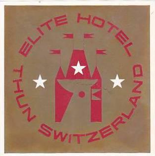 SCHWEIZ THUN ELITE HOTEL VINTAGE LUGGAGE LABEL