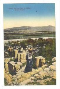Jacob's well & plain of Makhna, arab woman w/jug water on head,, Palestine, 0...