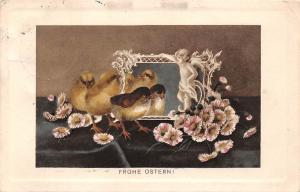 Greetings: Frohe Ostern! Easter, birds, flowers, sculpture, mirror 1910