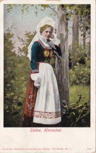 Sweden Skane Herrestad Local Woman In Traditional Costume 1906