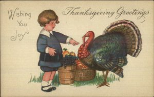 Thanksgiving - MEP Margaret Evans Price Child & Turkey Stecher 775C Postcard