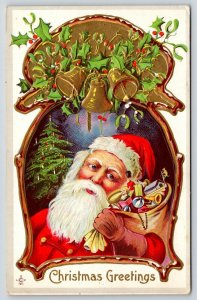 Christmas~Santa in Keyhole Portal~Candle Tree~Gold Bells Ring~Toys~Stecher 230 F
