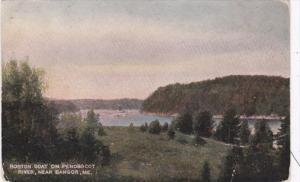 Maine Bangor Boston Boat On Penobscot River