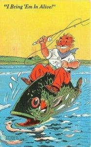 Comic Humor Fishing Exaggeration 1948 Postcard Teich linen 6036