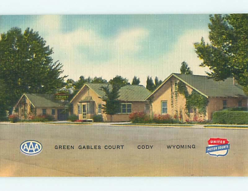 Unused Linen GREEN GABLES COURT MOTEL Cody Wyoming WY u8397
