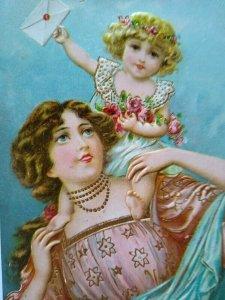 Vintage Happy New Year Postcard Otto Schloss No 961 Original Embossed Unused