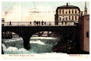 Rhode Island Pawtucket , Main Street Bridge and Falls