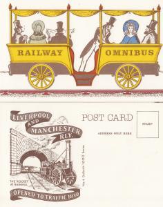 Posh Omnibus Carriage Men Travelling on Liverpool & Manchester Train Railway ...