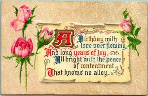 1910 Embossed Greetings Postcard A Birthday With Love Overflowing… Pink Roses