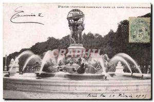 Paris Postcard Old Fountain Carpeaux in the Luxembourg park