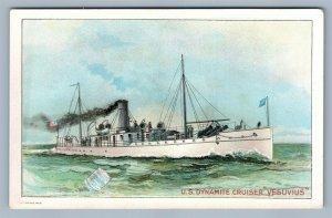 US DYNAMITE CRUISER VESUVIUS SHIP VICTORIAN TRADE CARD CONDENSED MILK NEW YORK