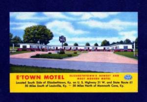 KY E Town Motel ELIZABETHTOWN KENTUCKY Postcard Linen