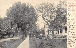 Plymouth Wisconsin~Reed Street~Homes on West End~Victorian Porch~1906 Postcard