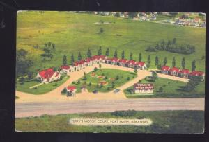 FORT SMITH ARKANSAS TERRY'S MOTOR COURT AERIAL VIEW VINTAGE POSTCARD