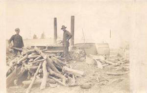 B29/ Occuptional Worker RPPC Postcard c1910Men Wood Pile Factory Shovel 4