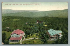 CATSKILL MOUNTAINS NY VIEW FROM TOWER ELKA PARK ANTIQUE POSTCARD