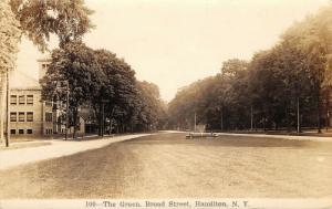 Hamilton NY~Broad Street~Fountain on Green~Kenneth L Dart Arrived Home~1936 RPPC